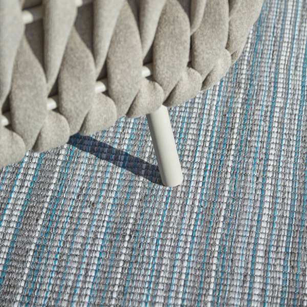 Outdoor hand tufted woven rug: pin stripe multi coloured design by Concept