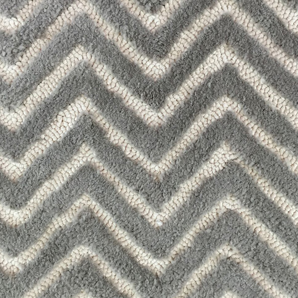 Outdoor tufted herringbone in two colours desing Zig Zag Cut & Loop Silver design by Concept | Hand Tufting